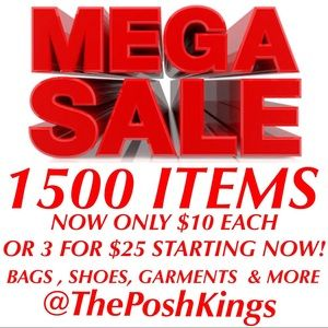 MEGA SALE! 1500 ITEMS ONLY $10 EACH OR 3 FOR $25!